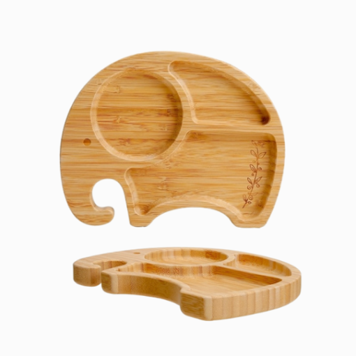 Introdução Alimentar Prato de Bambu Elefante com Divisórias e Ventosa de Sucção