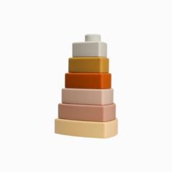 Brinquedo Montessori para Bebê Torre de Silicone Triangular