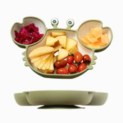 Introdução Alimentar Prato de Silicone Caranguejo Com Ventosa de Sucção