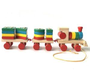 Brinquedo Montessori para Bebê Trem de Madeira com Torres Geométricas