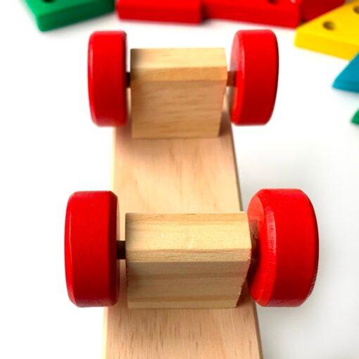 Loja Chiquititos Brinquedo Montessori para Bebê Trem de Madeira com Torres Geométricas