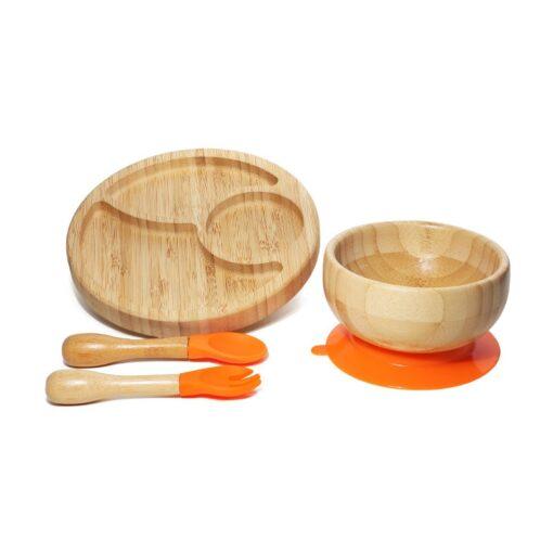 Introdução Alimentar Kit de Bambu com Prato, Tigela e Talheres NatureBaby