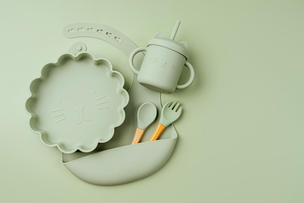 prato de silicone babador de silicone copo de silicone colher de silicone