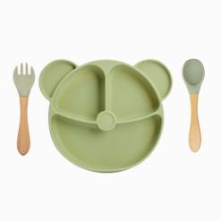 Prato de Silicone Com Ventosa de Sucção e Talheres Ursinho Pooh