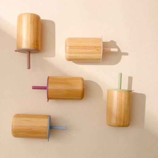 Loja Chiquititos Copo de Bambu com Tampa e Canudo de Silicone 150 mL